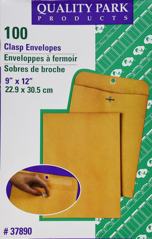 Quality Park Clasp 9 x 12 Inch 28lb Brown Kraft Envelopes 100 Count (37890) - Chickadee Solutions - 1