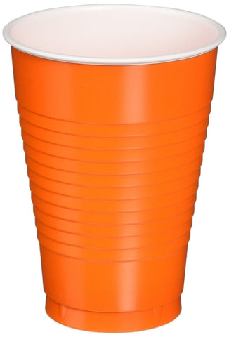 Amscan Big Party Pack 50 Count Plastic Cups 12-Ounce Orange - Chickadee Solutions - 1