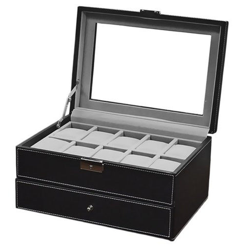 Watch Box Large 20 Mens Black Leather Display Glass Top Jewelry Case Organizer - Chickadee Solutions - 1