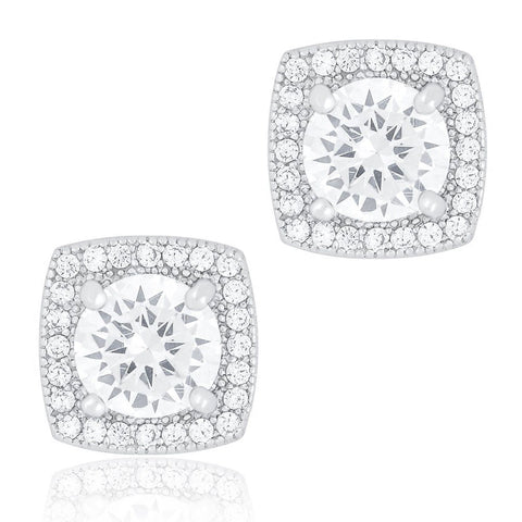 18k White Gold Plated Cubic Zirconia Cushion Shape Halo Stud Earrings (1.45 c... - Chickadee Solutions - 1