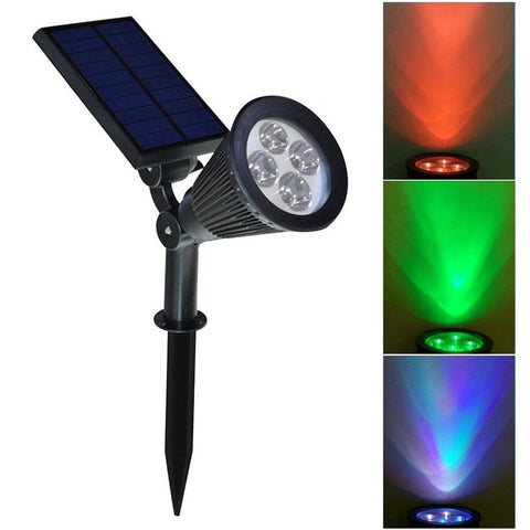 [3rd Generation] 200lumens 4LED Solar Spotlight Auto Color Changing Dusk to D... - Chickadee Solutions - 1