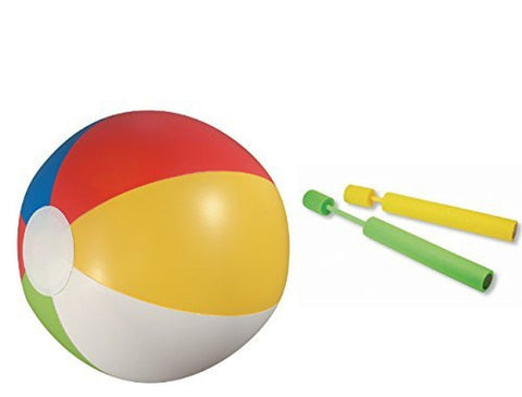18'' Rainbow Colored Beach Balls (24 Pack) with 2 water shooter water pumps - Chickadee Solutions