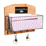 Country Rustic Wood & Metal Wire Wall Mounted Mail Sorter / Hanging Storage R... - Chickadee Solutions - 1