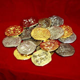 Large Metal Pirate Treasure Coins - 20 Gold and Silver Doubloon Replicas - Chickadee Solutions - 1