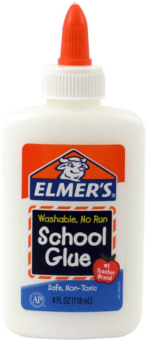 Elmer's Washable No-Run School Glue 4 oz 1 Bottle (E304) White 4 oz. Bottle - Chickadee Solutions