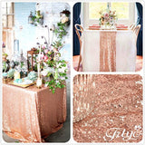 Trlyc 3ft to 10ft Real Rose Gold Sequins Square Tablecloths and Table Runner ... - Chickadee Solutions - 1