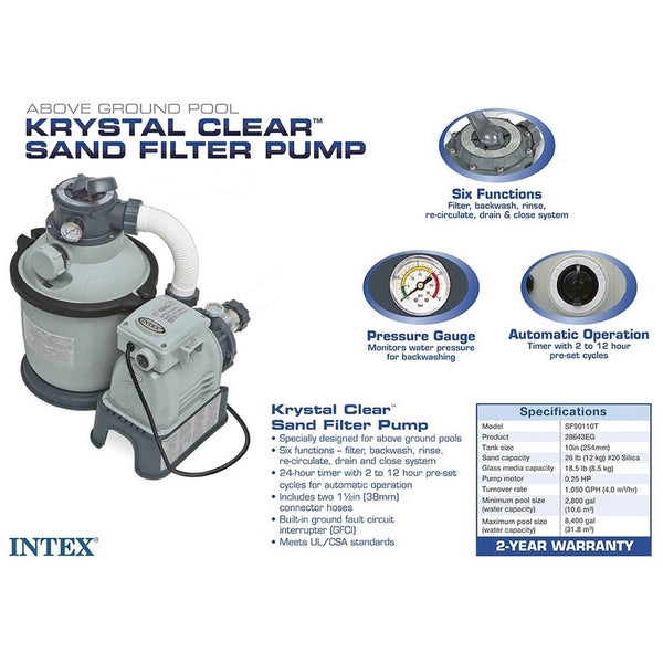 Intex Krystal Clear Sand Filter Pump For Above Ground Pools 1200 Gph Pump Flo Chickadee