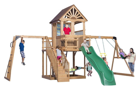 Backyard Discovery Oceanview All Cedar Wood Playset Swing Set - Chickadee Solutions - 1