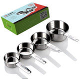 Gelindo Stainless Steel Measuring Cups - 4Pcs (60ML/80ML/125ML/250ML)- Food G... - Chickadee Solutions - 1