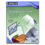 Apollo Write-On Transparency Film 8.5 x 11 Inches Clear 100 Sheets per Box (V... - Chickadee Solutions