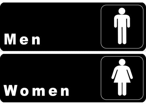 """Men"" & ""Women"" Restrooms Signs Set Toilet Door Plate for Business Restaurant... - Chickadee Solutions - 1"