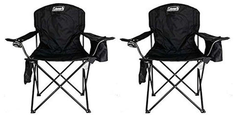 (2) COLEMAN Camping Outdoor Oversized Quad Chairs/Coolers Black - Chickadee Solutions - 1