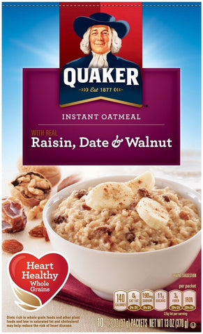 Quaker Instant Oatmeal Raisin Date & Walnut Breakfast ...