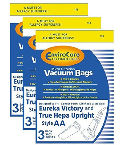 1 X Eureka Victory and True Hepa Upright Style AA Vacuum Bags Microfiltration... - Chickadee Solutions