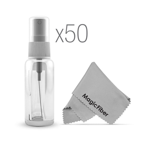 (50 Pack) Empty 20mL (0.66oz.) Clear Plastic Fine Mist Spray Bottle (Less Tha... - Chickadee Solutions - 1