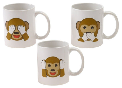 Emoji Universe: See No Evil Monkey Emoji Coffee Cups (Set of 3); Choice of St... - Chickadee Solutions