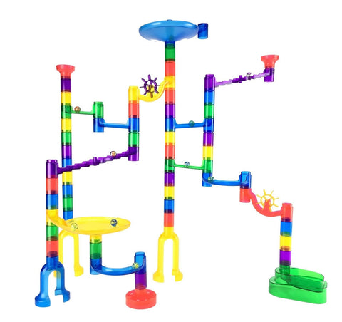 Marble Genius Marble Run Starter Set - 60 Marbulous Pieces + 10 Glass Marbles - Chickadee Solutions - 1