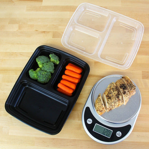 freshware 15 pack 3 compartment bento lunch boxes with lids stackable reusa chickadee. Black Bedroom Furniture Sets. Home Design Ideas
