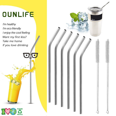 Stainless Steel Drinking StrawsSet Of 6 Reusable OUNLIFE Bent Stainless Steel... - Chickadee Solutions - 1