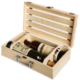 Handmade Vineyard Design Natural Pine Wood Crate 2 Wine Bottle Travel Storage... - Chickadee Solutions - 1