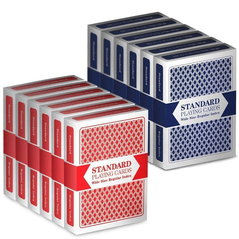 12 Decks (6 Red/6 Blue) Wide-Size Regular Index Playing Cards by Brybelly - Chickadee Solutions - 1