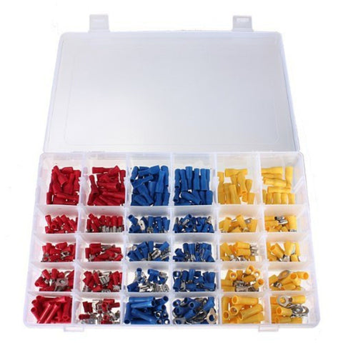 480 Pcs ASSORTED INSULATED ELECTRICAL WIRE TERMINALS CRIMP CONNECTORS SPADE SET - Chickadee Solutions - 1