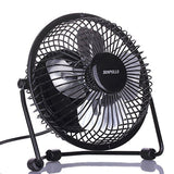 Table Desk Fan USB Mini Fans (Quietness Metal 4'') Black - Chickadee Solutions - 1