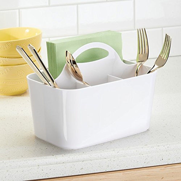 Mdesign silverware flatware caddy organizer for kitchen for Kitchen countertop storage solutions