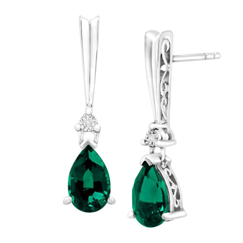 1 3/4 ct Created Emerald Drop Earrings with Diamonds in Sterling Silver - Chickadee Solutions - 1