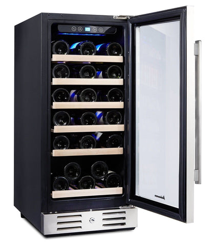 Kalamera 15'' Wine refrigerator 30 Bottle Built-in or Freestanding with Stain... - Chickadee Solutions
