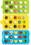 Candy Molds & Ice Cube Trays - Hearts Stars & Shells - Silicone Chocolate Mol... - Chickadee Solutions - 1