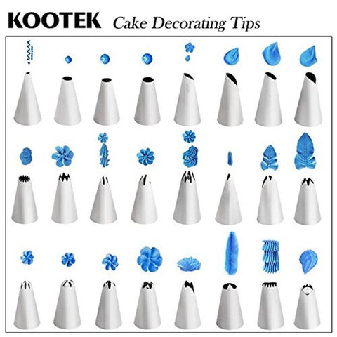 Cake Decorating Icing Tips : Kootek 26-Piece Cake Decorating Tips Kits Stainless Steel ...