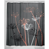 Thistle Shower Curtain Gray and Coral 72-Inch by 72-Inch - Chickadee Solutions - 1