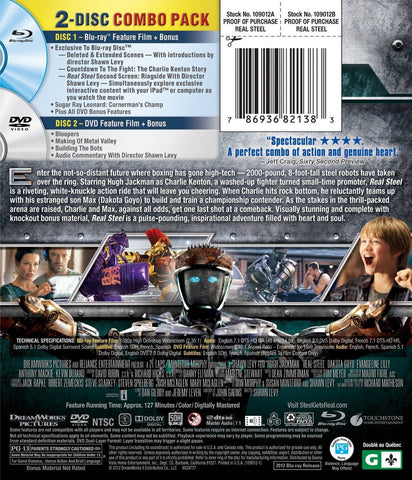 Real Steel (Two-Disc Blu-ray/DVD Combo) - Chickadee Solutions