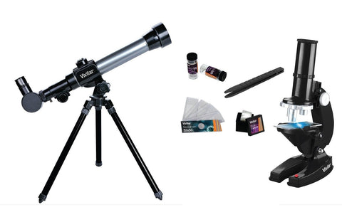 Vivitar VIV-TELMIC-20 20x/30x/40x Telescope and Microscope Kit (Black) Vivitar - Chickadee Solutions - 1