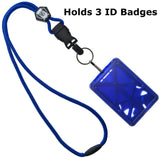 Top Loading THREE ID Card Badge Holder with Heavy Duty Lanyard w/ Detachable ... - Chickadee Solutions - 1