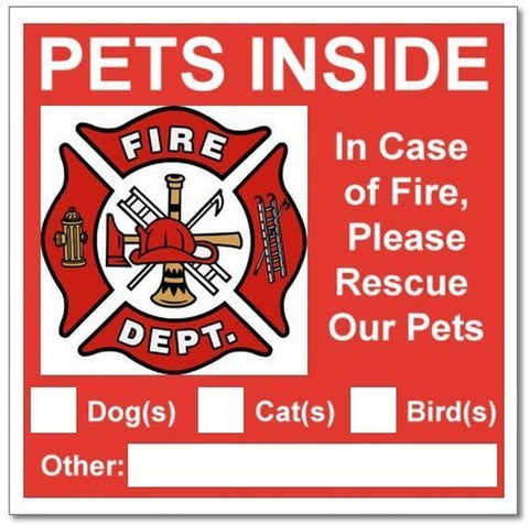 6 Pets Inside Red Safety Alert Warning Window Door Stickers; In Fire or Emerg... - Chickadee Solutions - 1