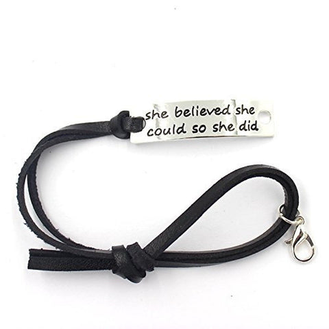 """She Believed She Could So She Did"" Inspirational Leather Bracelet - Chickadee Solutions - 1"