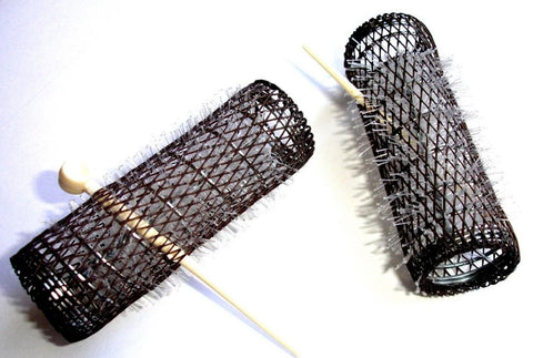 "2 Pack HAIR STYLING BRUSH ROLLERS & PINS Hair Curlers 7/8"" x 3"" Bristles (12 ... - Chickadee Solutions - 1"