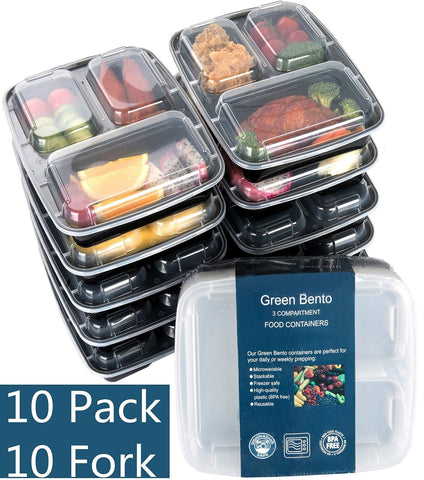[10 Pack]3 Compartment Meal Prep Food Storage Containers with Lids/BPA Free B... - Chickadee Solutions - 1