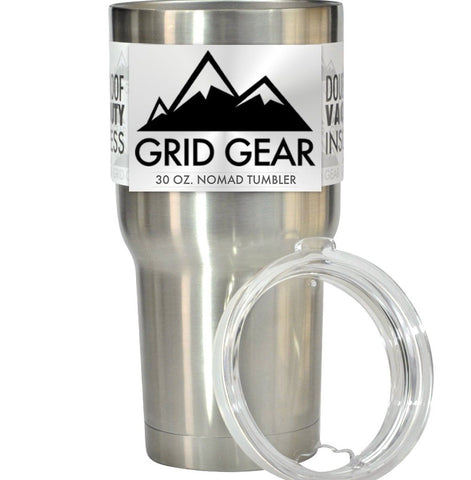 30 oz Tumbler Double Wall Vacuum Insulated Stainless Steel Grid Gear Nomad 1 - Chickadee Solutions - 1