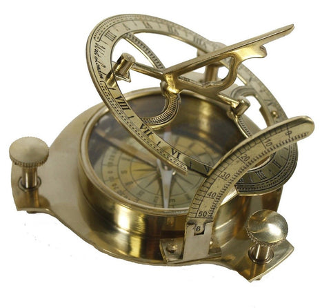 "4"" Sundial Compass - Solid Brass Sun Dial - Chickadee Solutions - 1"