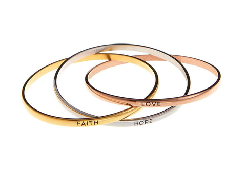 """Faith Hope Love"" Tri Color Stainless Steel Bangle Inscription Message Bracel... - Chickadee Solutions - 1"
