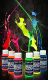 Neon Glow in the Dark Body Paint #1 Premium Set (6 pack of 2 oz. bottles) Glo... - Chickadee Solutions - 1