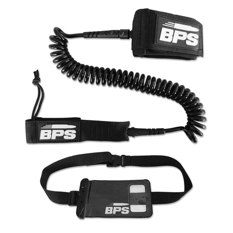 'STORM' PREMIUM SUP Leash 10' COILED by BPS - with FREE BPS Waterproof Wallet... - Chickadee Solutions - 1