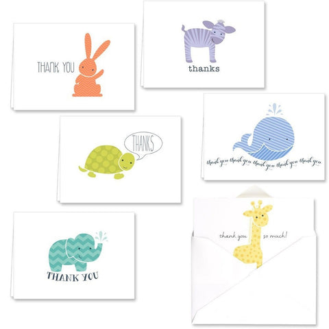 Adorable Animal Thank You Note Card Assortment Pack - Set of 36 cards - 6 des... - Chickadee Solutions - 1