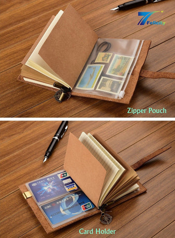 "7Felicity Classic Genuine Leather Notebook5.3"" x 4"" Refillable Pages Leather ... - Chickadee Solutions"