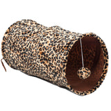 Favorite Medium Cat Tunnel Foldable Lightweight Fun Dangling Ball Toy Leopard - Chickadee Solutions - 1