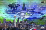 "Seattle City Skyline Street (36"" x 24"") 36"" x 24"" - Chickadee Solutions - 1"