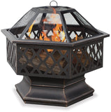 Endless SummerWAD1377SP Hex Shaped Outdoor Fire Bowl with Lattice Oil Rubbed... - Chickadee Solutions